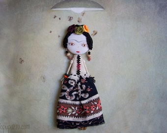 Frida Kahlo, Art Doll Brooch, mixed media collage, gift for her