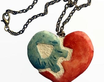 Gear Heart Necklace - Interchangeable - Red & Blue - Clay Ceramic
