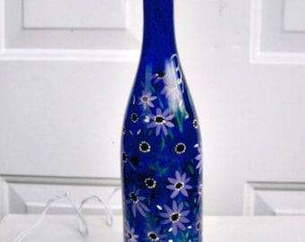 Wine Bottle Light, Night Light, Hand Painted Blue Wine Bottle, Purple Flowers