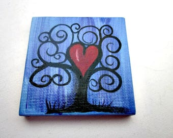 Magnet, Mini Canvas Hand Painted Refrigerator Magnet, Black Tree, Tree with Heart, Love Tree, 3X3 Magnet