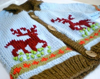 Hand Knit Reindeer Sweater/Baby Reindeer Sweater/Knit Wool Baby & Toddler Sweater/Hand knitted Reindeer Sweater/Baby Reindeer Sweater/Knit