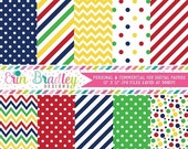 60% OFF SALE Primary Colors Digital Paper Pack, Blue Red Yellow Green Digital Papers with Stripes Polka Dots & Chevron
