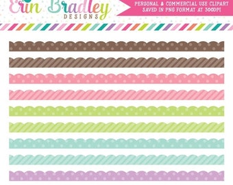 70% OFF SALE Digital Scrapbook Embellishments Scalloped Borders Personal & Commercial Use