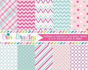 50% OFF SALE Digital Paper Pack Personal and Commercial Use Pink and Blue Chevron and Polka Dots