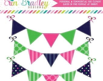 50% OFF SALE Preppy Bunting Clipart Commercial Use Blue Green and Pink Banner Flags Clip Art Graphics