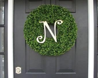 SUMMER WREATH SALE Monogram Initial Wreath, Monogram Wreaths, Monogram Boxwood Wreath, Personalized Decor, Wedding Decor, Spring Decor, Mono