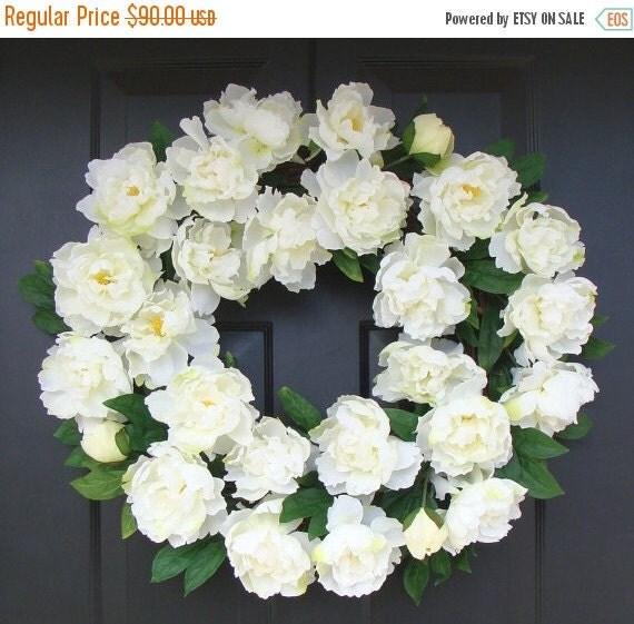 SPRING WREATH SALE White Summer Wreath- Wedding Wreath- White Peonies- Peony Wreath- Wedding Decor- Summer Wreath Decor- 24 Inch Year Round