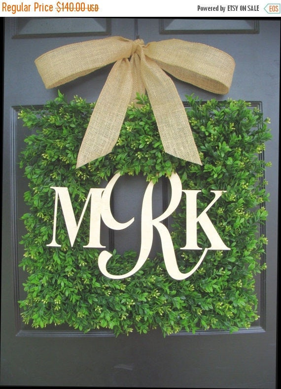 SPRING WREATH SALE Monogram Wedding Gift, Couples Monogram Wreath, Wedding Decor, Shower Gift for Bride and Groom, Outdoor Decor, Personaliz
