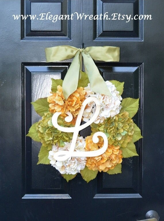 Fall Hydrangea Wreath, Hydrangea Fall Wreath, Fall Monogram Wreaths, Fall Decor, Fall Decoration, Monogram Wreaths
