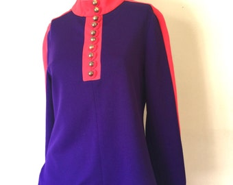 Vintage Swinging 60's Deep Purple and HOT Pink Long Sleeved Mod Tunic Top by Porter House