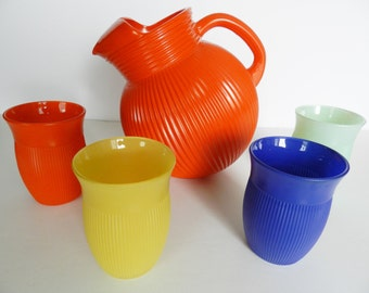Hazel Atlas Beverage Set, Multi Color Ball Pitcher Set, 1940s Beverage Set, Orange Ball Pitcher