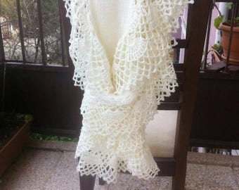 Saten yarn  Ivory Spring Garden  Shawl and Scarf - Express Delivery