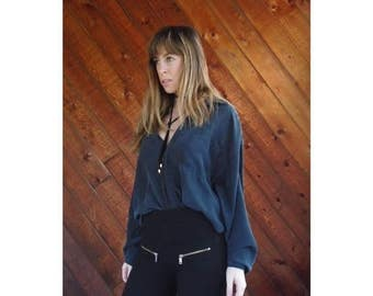 25% off Flash Sale . . . Black Silk Oversized Button Down Shirt - Vintage 90s - LARGE