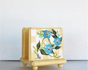Yellow Napkin Holder with Blue Flowers , Hand Painted , Handcrafted
