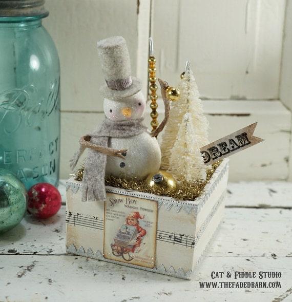 Snowman // Christmas Decoration // Vintage Style Christmas // Ornament ...