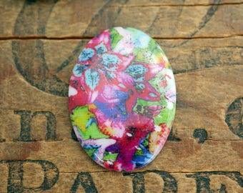 Shell Cabochon Floral Cabochon 35x25mm Bright Colored Cabochon (1)