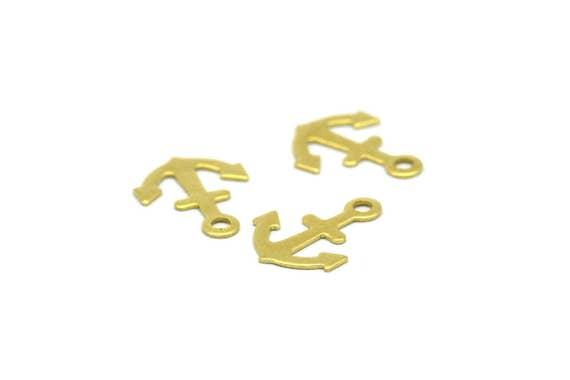 Brass Anchor, Sailor Charm, 100 Raw Brass Anchor Charms (12x9mm)  Brs 629  A0198