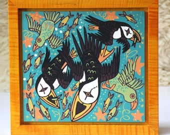 Puffin and Parrot woodcut framed in solid tiger maple wood allow 4 weeks for delivery