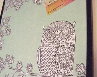 Blue Owl ..Magnet Dry Erase Memo Board / Housewarming Gift / Office Decor / Desk / Organization / Wall Hanging / Wall Decor / Desk Accessory