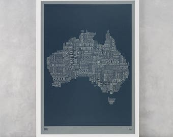 Australia Map Screen Print, Grey Australia Font Map, Limited Edition, Australia Word Map, Australia Text Map, Australia Wall Artwork