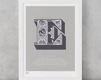 Illustrated Letter E, Letter E, Illustrated Alphabet Letters, Illustrated E, Illustrated Alphabet Wall Posters, Letter Wall Art