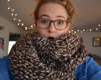 Extra Chunky Scarf : Brown & Cream (scarf, winter, christmas, hannukah, present, warm, yarn, acrylic, wool, dark, colors, brown, earthy)