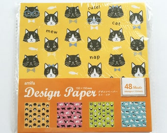 Cute Cats & Dogs Japanese Origami Paper - 4 Designs - 48 Sheets - Faces, Pugs, Bulldogs, Kittens, Puppies, Fish, Bowties