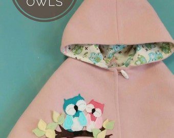 Children Capelet - Baby Girl, Cape, Poncho, Hood, Owl, Pink, Gift