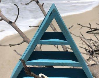Boho Soul, One of a Kind Vintage Turquoise Triangle Shelf, Mermaid Shelf, Mermaid Crystal Shelf, Turquoise Shelf, Vintage Turquoise Pyramid