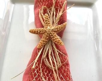 Napkin Ring with Sugar Starfish Copper Net Ribbon - Beach Wedding - Shells - Seashore