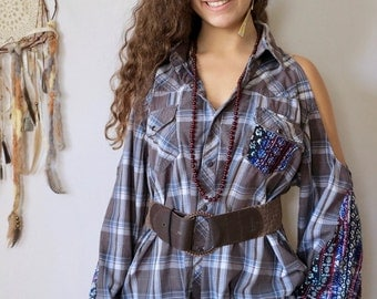 Boho Gray Blue Floral Print Bell Sleeve Eco Friendly Plaid Open Off The Shoulder Cut Out Cold Shoulder Eco Friendly Top Shirt Blouse O/S