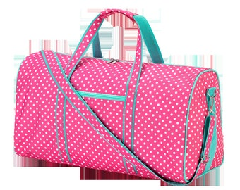 Monogrammed polka dotted pink and mint duffle bag bridesmaids gift ideas luggage travel overnight bag Beach House Dreams OBX Valentines gift