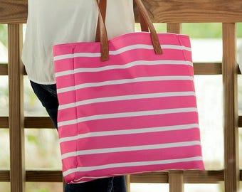 hot pink striped beach tote bag Spring break Easter Mother's day vacation overnight bridesmaids gifts BeachHouseDreamsHomeOBX Outer Banks