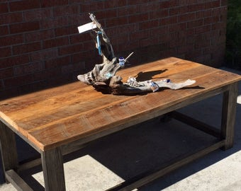 barnwood coffee table large handmade reclaimed wood table Outer Banks furniture BeachHouseDreamsHome available for PICKUP NC or VA only obx