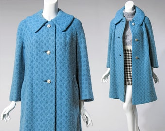 60s Rothmoor teal blue boucle wool coat | size medium