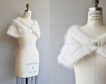 Angeline angora stole | vintage 1950s wedding shrug | 50s angora wrap
