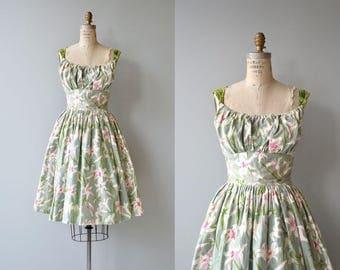 Summer Lilies dress | vintage 1950s dress | 50s floral print dress