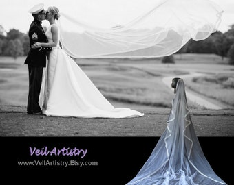 Wedding Veil, Cascade Veil, One Tier Veil, Chapel Veil, Satin Ribbon Edge Veil, Double Ribbon Veil, Made-to-Order Veil, Custom Veil
