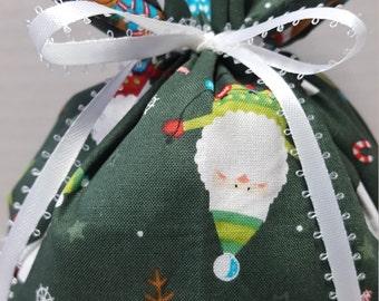 Christmas Fabric Gift Bag Santa Reindeer Snowman on Dark Green