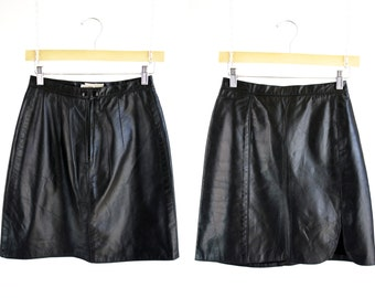 Rene Derval New York Paris Los Angeles Vintage Black Leather Retro Woman's Mini Skirt