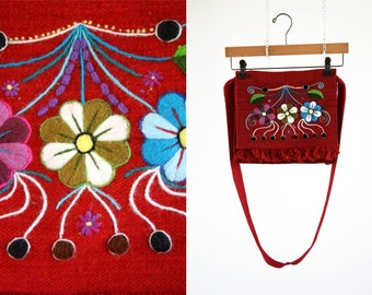Aztec Inspired Red Vintage Cross Body Embroidered Tote Bag