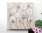 ON SALE Lavender Art Nursery Rose Painting on Canvas Textured - Small 10x10