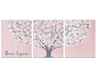 Custom Nursery Art with Baby Girl Name on Pink and Gray Tree Painting Large Canvas Triptych - 50x20