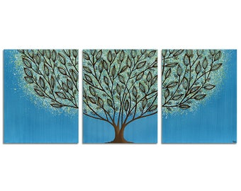 Original Painting Acrylic - Blue Tree Wall Art Canvas Triptych - Large 50X20