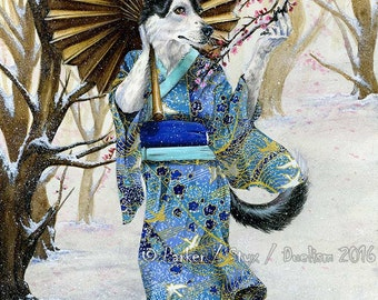Anthropomorphic Commission Dog Painting or Cat Artwork Traditional Media Commission Anthro Art 9x12 Pet Full Color Background Yukata Kimono