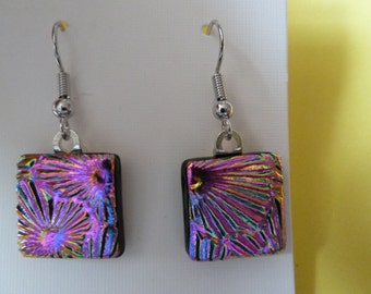 Hypo-Allergenic Pink Fiesta Coloured Dichroic Glass Drop Earrings with Surgical Steel Ear Wires