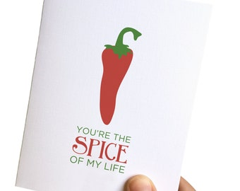 valentines day card, i love you card, anniversary card, card for him, card for her, foodie greeting card, retro card, pepper card