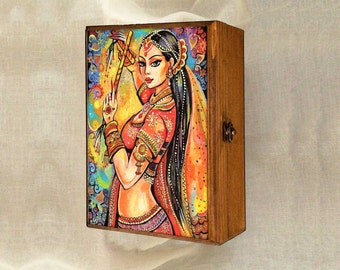 Indian dancer, Bollywood dance, dancing woman, Indian woman art art box, handmade art box, jewelry box, 7x10