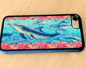 Hibiscus and Dolphins Rubber iPhone 5/5s, iPhone 6/6s, iPhone 6 Plus, iPhone 7, iPhone 7 Plus