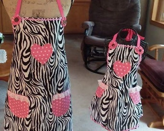 Mother daughter Zebra apron set